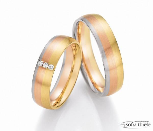 Trauringe 585/- Weißgold Rotgold Gelbgold 66-44090-100