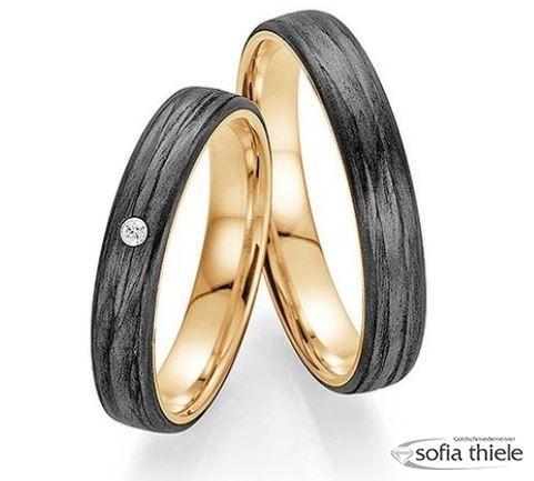 Trauringe Fischer 585/- Gold Carbon Paar F-01350-040