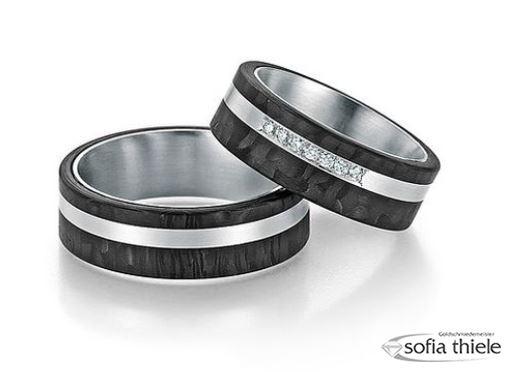 Trauringe 600/- Platin Fischer Carbon Paar F-01030-070