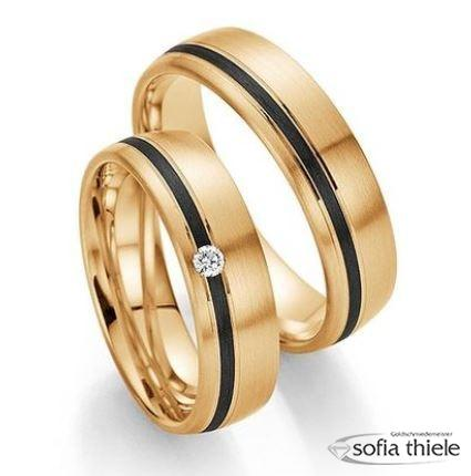 Trauringe Fischer 585/- Gold Carbon Paar F-01190-060