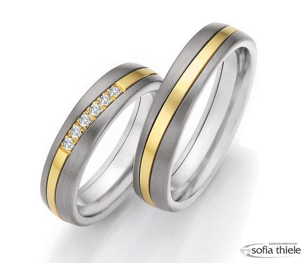 Trauringe 585/- Gold Titan Nowotny Paar 14-20010-20-6051